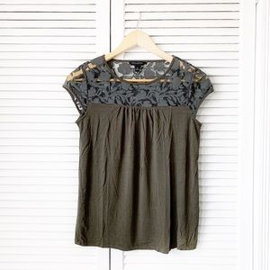 Banana Republic Green Mesh Lace Blouse NWOT